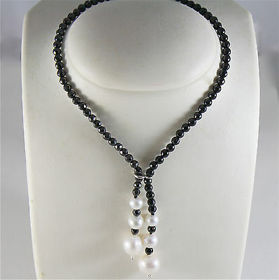 SOLID 18K WHITE GOLD NECKLACE WITH FW PEARLS AND MULTIFACETED ONYX MADE IN ITALY