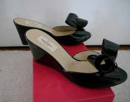 NIB 100% AUTH Valentino Couture Black Patent Leather Bow Wedge Sandals Sz 37.5 - $395.01