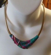 Gold-tone Chain Pink, Teal Blue Swirl Enamel Necklace - $17.81