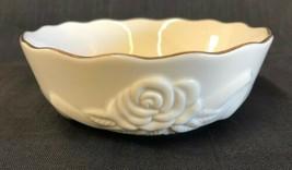 Lenox Ivory Bowl Scalloped Edge Embossed Roses Gold Trim Candy Treat Nut Dish - $14.80
