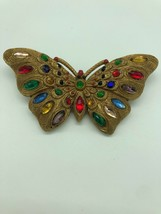 Vintage Celluloid Rhinestone Butterfly Pin Gold Multicolor Glass Brooch - $43.46
