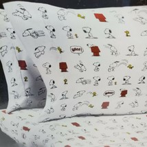 Berkshire Peanuts 4 Piece Snoopy Woodstock White Polyester Full Sheet Set 1A - $42.70