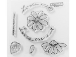 Close to My Heart Loves Me, Loves Me Not Clear Acrylic Stamp Set #B1063