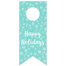 Mint Snowflakes Happy Holidays Water Bottle Hang Tag - $26.24