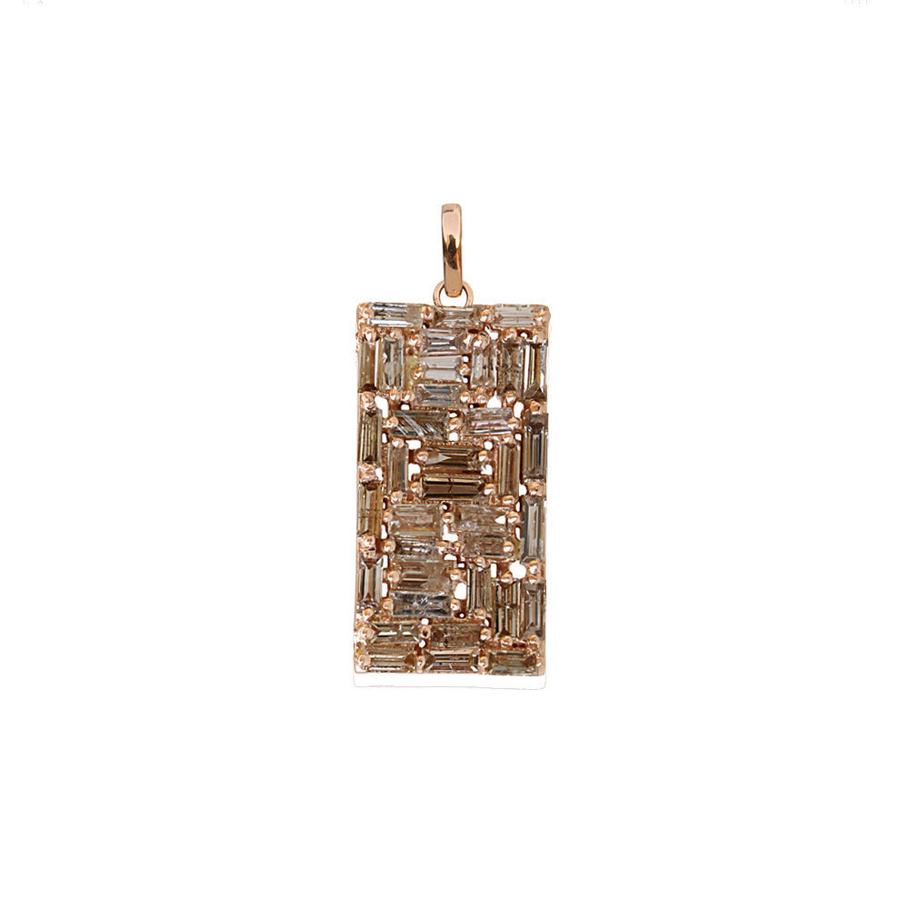 Primary image for Natural Baguette Diamond Rectangle Pendant Rose Gold Women's Handmade Jewelry