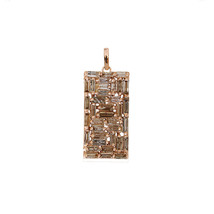 Natural Baguette Diamond Rectangle Pendant Rose Gold Women's Handmade Je... - $1,198.59