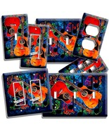 COLORFUL GUITARS MUSIC MODERN ABSTRACT LIGHT SWITCH PLATE OUTLET WALL CO... - $8.09+