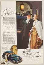1938 Print Ad Body by Fisher GM Turret Top Cars Elegantly Dressed Couple - $16.81