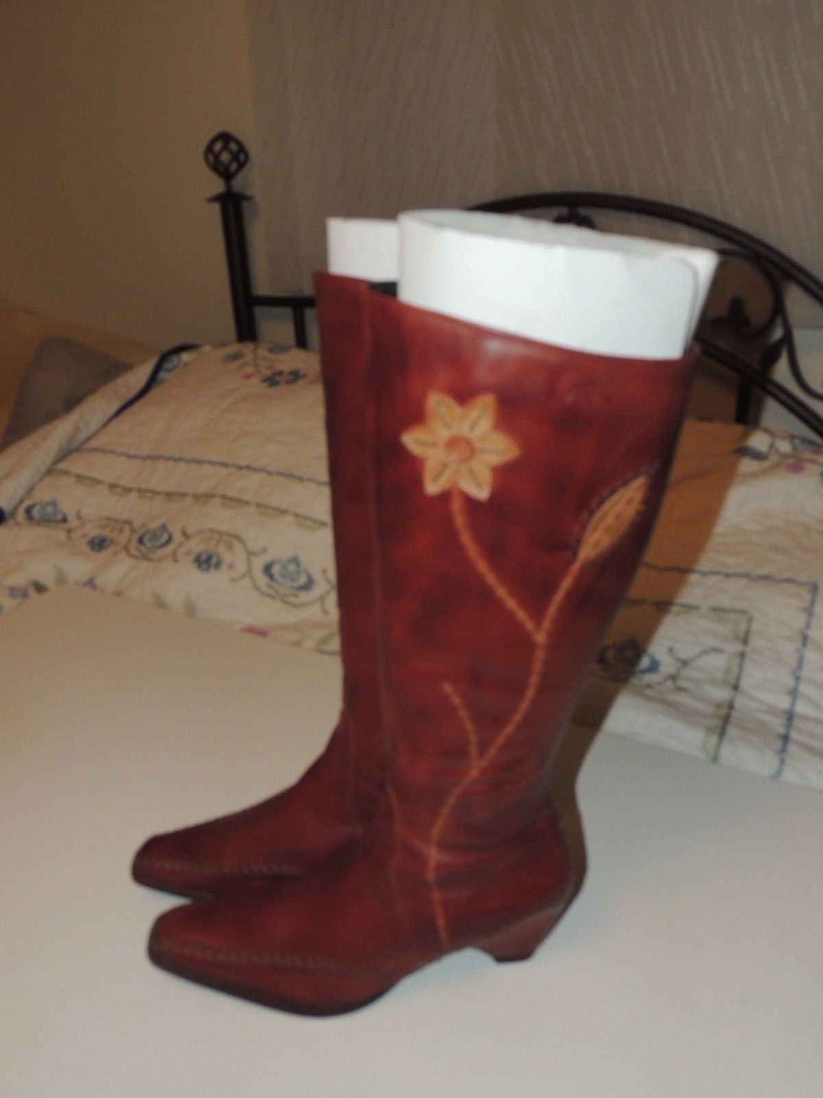 Gorgeous PIKOLINOS Brown Leather Tall Boots w Zipper Flower Size 40 8.5 EUC image 2