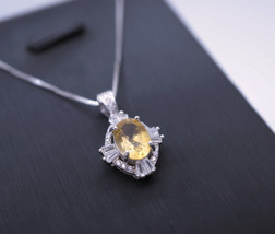 Sterling Silver Natural Citrine Necklace 1.5 CT Genuine Pendant Diamond ... - $59.00