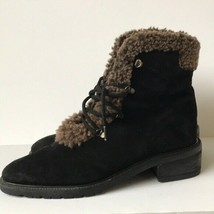 Stuart Weitzman Shearling Lined Lace Up Suede Boot Womens 8.5M Black  - $73.87
