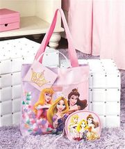 Girls 3 Pc Princess Disney Tote Gift Set Tote & Cosmetic Bag Mirror New - $16.10