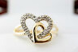 Ladies Genuine 10K Yellow Gold Diamond Heart Ring SIZE 6.5   - $167.31