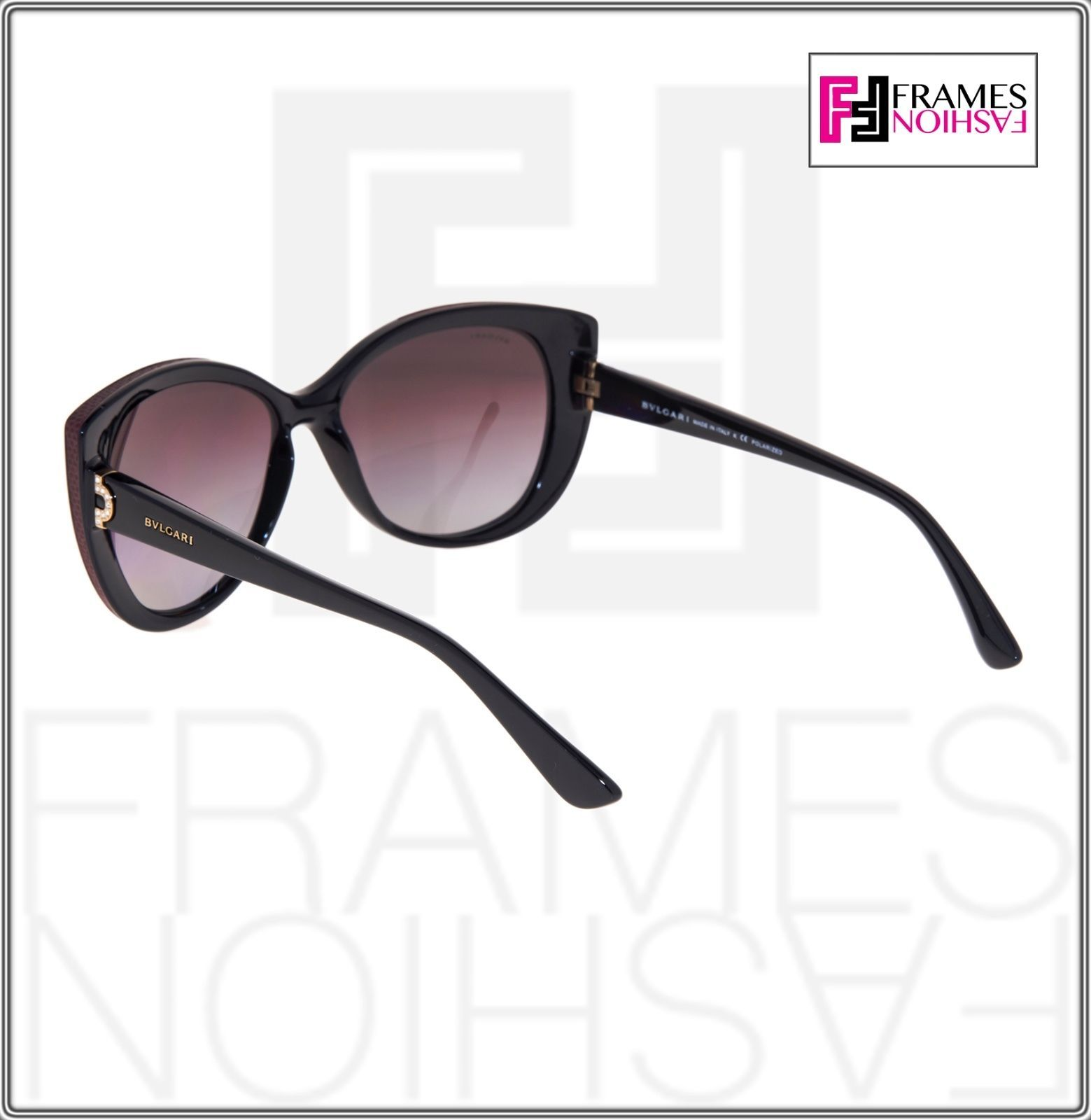 BVLGARI LOGO BV8157BQ Black Burgundy Leather Violet POLARIZED Sunglasses 8157 image 3