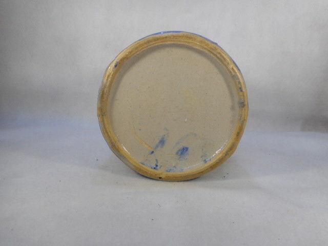 "Antique Blue and White Salt Glaze Stoneware Handled Pitcher 8 1/4"" Tall"