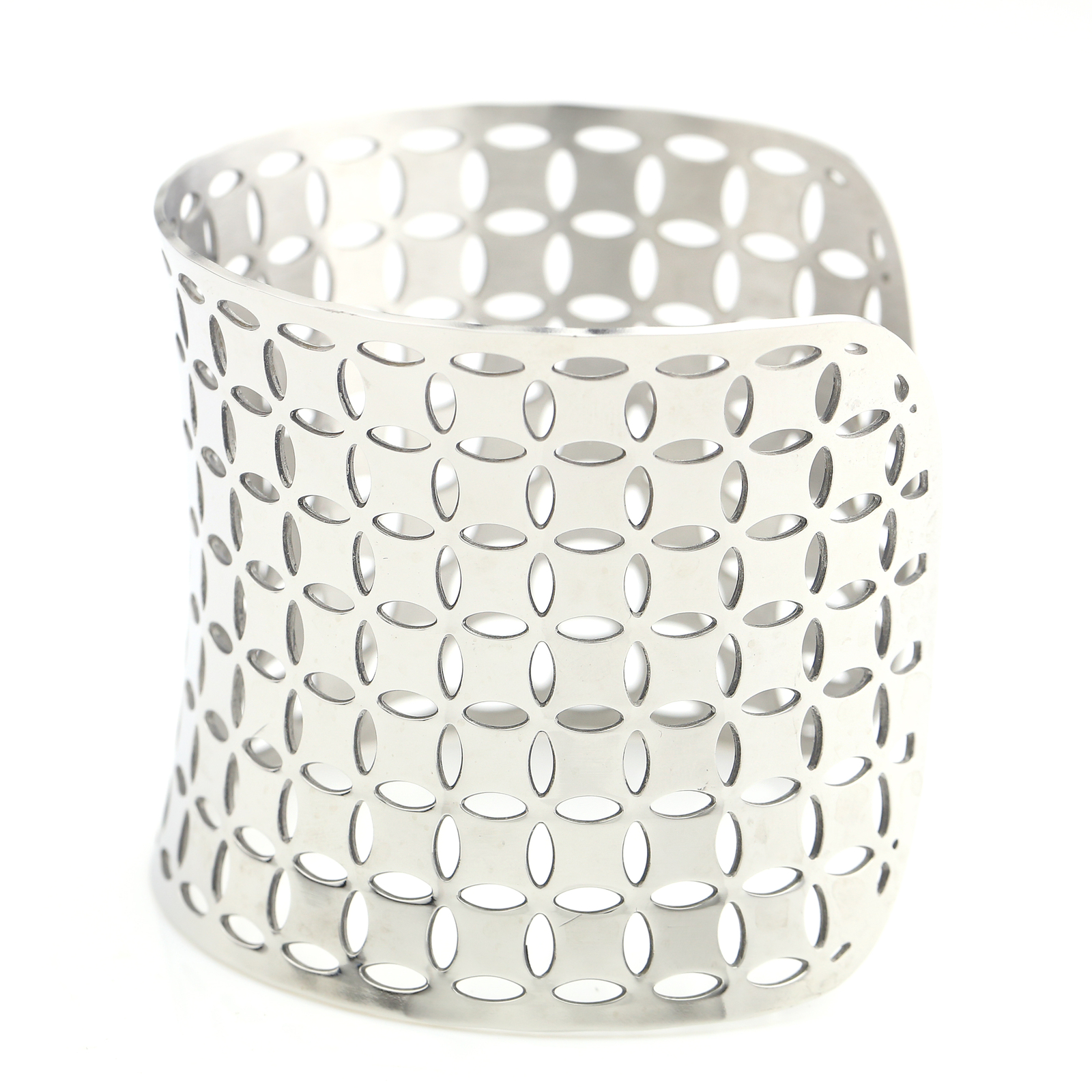 UNITED ELEGANCE Edgy Silver Tone Cuff Bracelet With Contemporary Cut Out Design