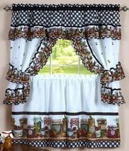 "3 pc Kitchen Curtain Tailored Cottage Set (57"" x 36"") FRUITS, MASON JARS, Achim - $22.76"
