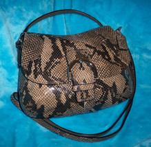 COACH Khaki Tan Brown Python Snake Print Cross ... - $49.90