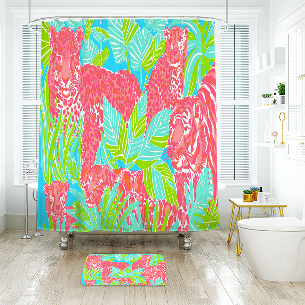 Primary image for Flower Lilly Enhanced Tigers Shower Curtain Waterproof & Bath Mat For Bathroom