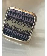 Estate Large Blue Purple & White Polymer Clay Modernist Square Silvertone Adjust - $13.09