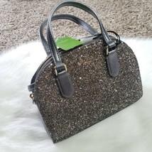 NWT Kate Spade New York Mini Reiley Laurel Way Grey Gunmetal Glitter Sat... - $216.43 CAD