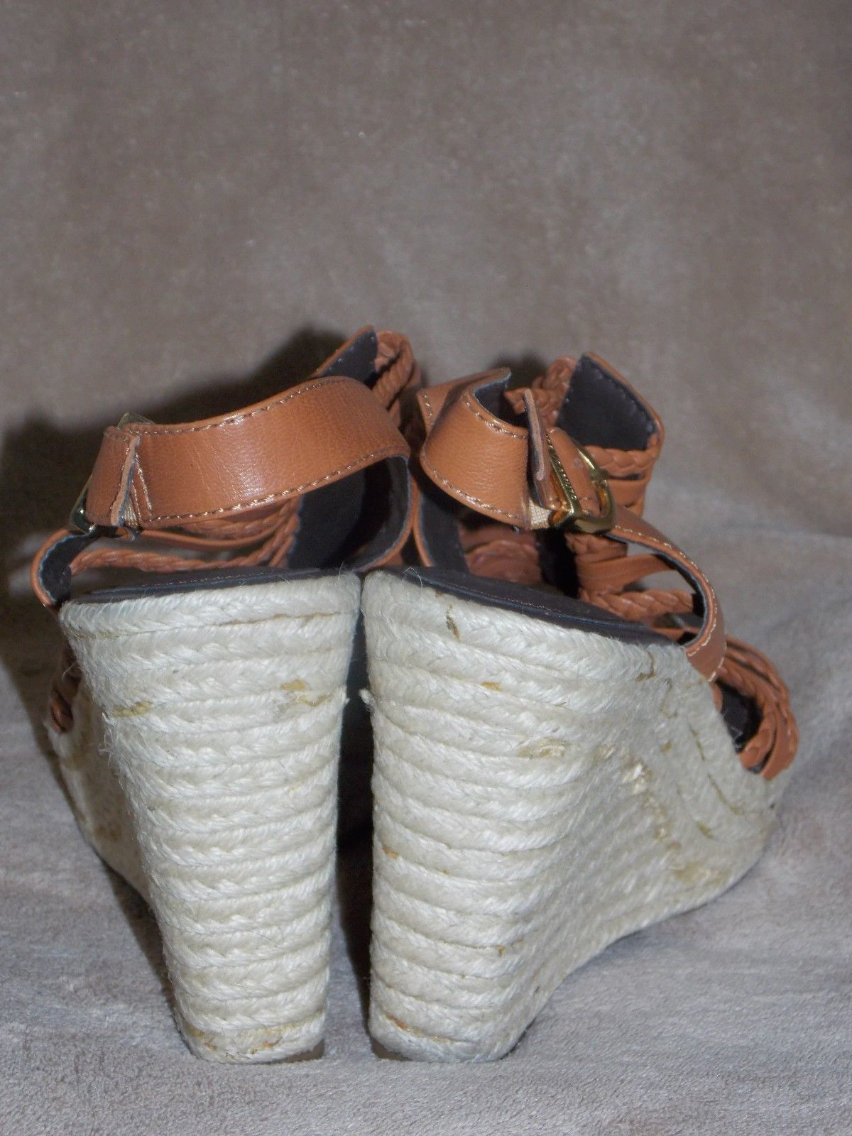 Vince Camuto Strappy Brown BRAIDED Wedges 10.5 B Used No Box