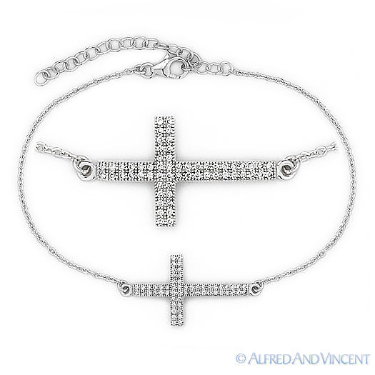 Sterling Silver Petite Round Purple Amethyst Sideway Religious Cross Necklace