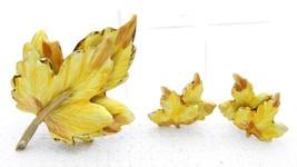 VTG Gold Tone Yellow Enamel Leaf Pin Brooch Post Earring Set - $29.70