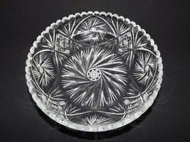 Gorgeous Vintage Cut Crystal Large Fruit / Centerpiece Bowl Pinwheel & Hobstar - $75.00