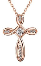 Women Cross Necklace Plated 18k Gold Zircon Rose-gold/Gold/Silver - 20.5... - $39.95