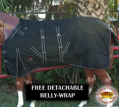 """69"""" Hilason 1200D Winter Waterproof Poly Horse Blanket Belly Wrap Black U-L-69 - $84.99"""
