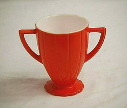 Newport Platonite Orange Hazel Atlas Open Sugar Bowl Depression Milk Glass - $12.86