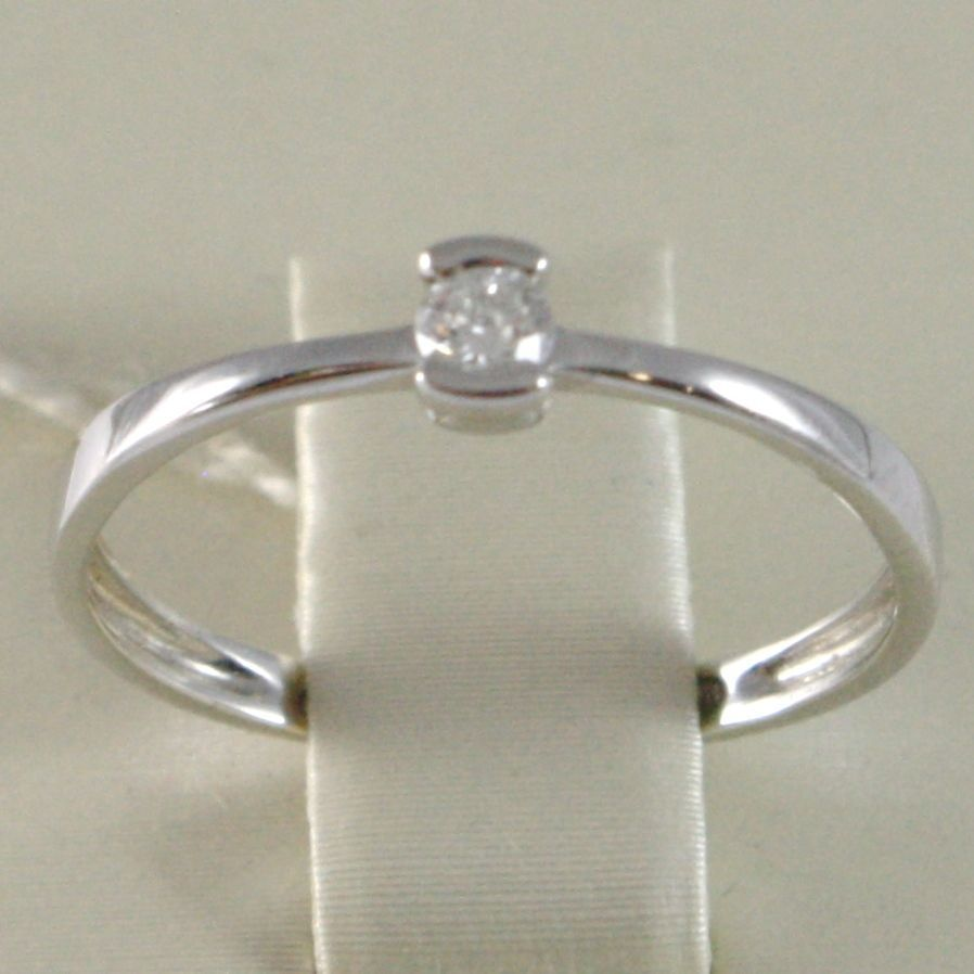 WHITE GOLD RING 750 18K, SOLITAIRE, BEZEL SETTING RAIL, DIAMOND, CARAT 0.08