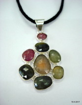 vintage sterling silver pendant necklace multi sapphire gemstone pendant - $197.01
