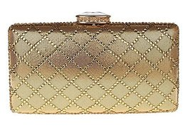 New Rhinestone Quilted Clutch Evening Bag Wedding Package 2--Golden