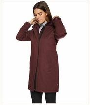 new Levi's women jacket coat oversized long LW8RC836 burgundy white sz XS - $68.42