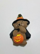 Hallmark PIN Halloween Vintage BEAR WITCH Trick Treat PUMPKIN Holiday Bu... - $5.95