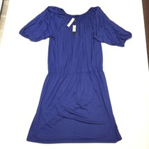 NWT Talbots Womens 2X A Line Dress Blue Puffed Sleeve Scoop Neck - $56.99