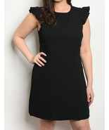 Fashion Womens Work Dress Flutter Sleeve Cotton Shift Dresses Black Plus... - $36.99