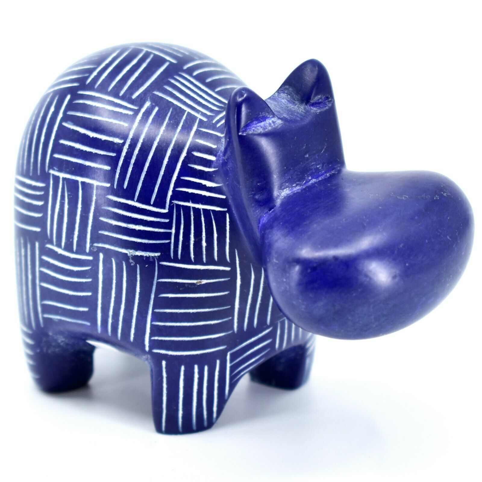 Vaneal Group Hand Crafted Carved Soapstone Dark Blue Hippopotamus Hippo Figurine
