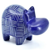 Vaneal Group Hand Crafted Carved Soapstone Dark Blue Hippopotamus Hippo Figurine image 1