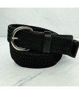 Gap Black Stretch with Leather Trim Belt Size Large - $23.24