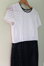 NWT Calvin Klein Beautiful Crochet Knit White Twilight Blue Cap Sleeve D... - $116.00