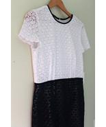 NWT Calvin Klein Beautiful Crochet Knit White Twilight Blue Cap Sleeve D... - $116.00
