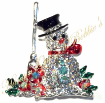 Snowman Crystal Pin Brooch Red Scarf Broom Black Hat Christmas Holiday S... - $19.99