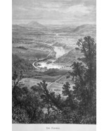 POTOMAC RIVER View from Maryland Heights - 1883 German Print - $21.60