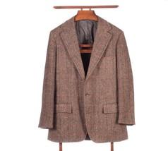Vintage Polo Ralph Lauren Brown Herringbone Check Tweed Jacket 40R Made In Usa - $79.15
