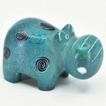 Crafts Caravan Soapstone Speckled Blue Hippopotamus Hippo Figurine Made Kenya