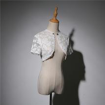 White Lace Wedding Cover Ups Retro Style Bridal Shrugs Boleros Pearl deco Plus  image 2