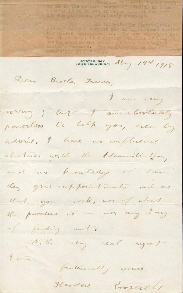 THEODORE ROOSEVELT Handwritten signed letter. Fine autograph.Interesting content